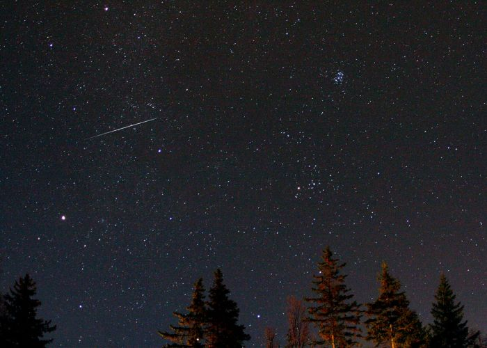 Geminid Meteor Streaking Twards the Pleiades by Thomas Kerns of Beluga Lake Observaory